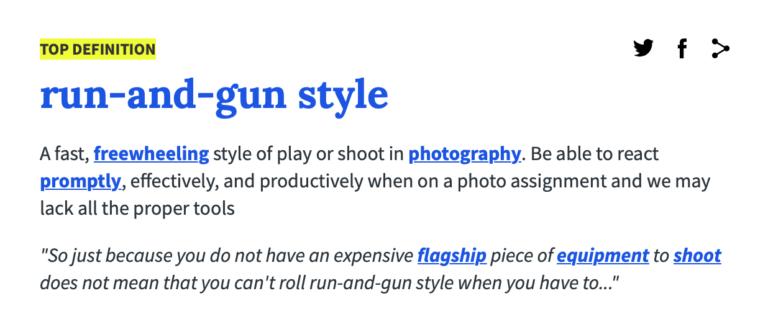 Run and Gun Photography definition